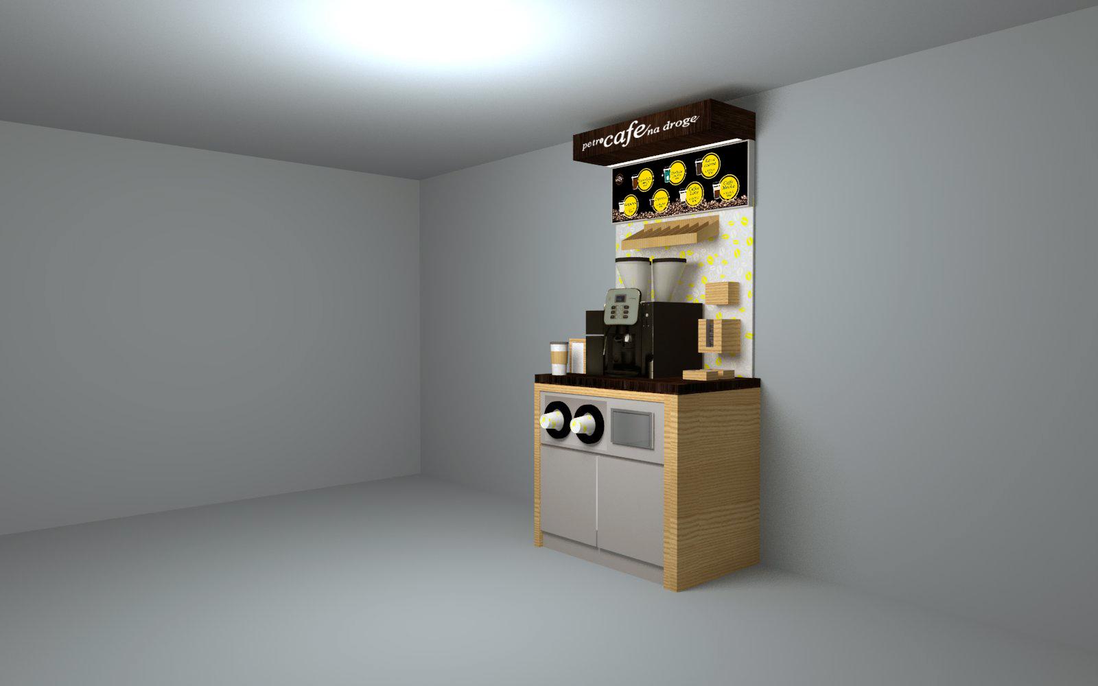 Projekt standu kawowego o szerokości 100 cm