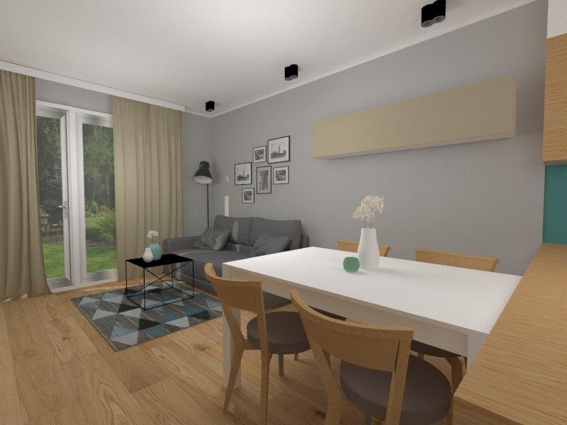 Jasny salon z kuchnią