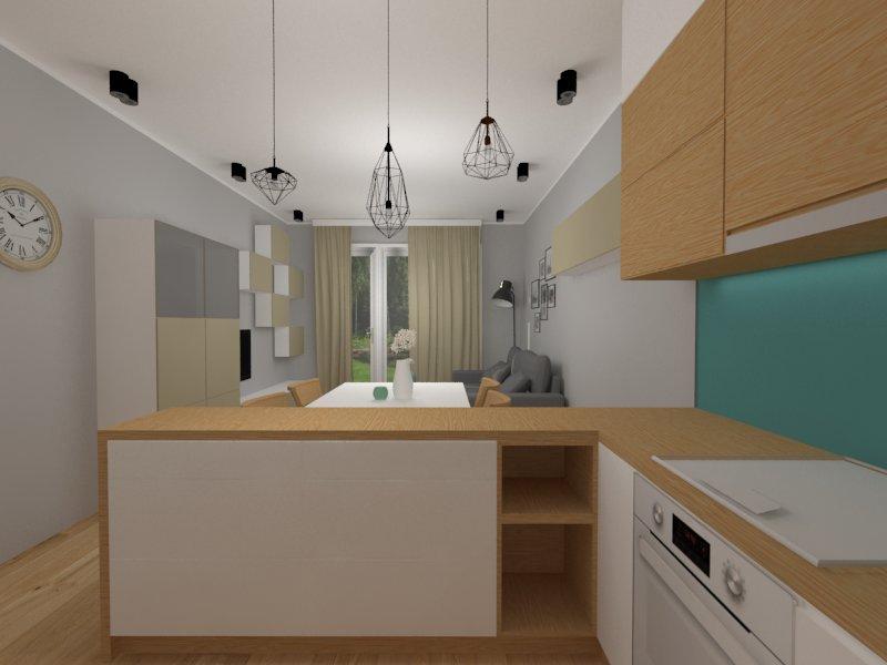 Jasny salon z kuchnią i jadalnią - widok z kuchni