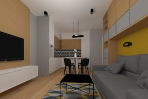 Projekt salonu z kuchnią - widok na kuchnię z jadalnią