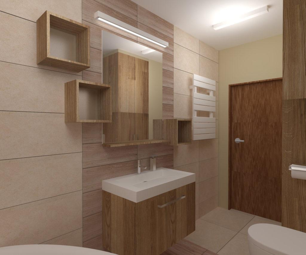 Projekt łazienki – widok na ścianę z umywalką
