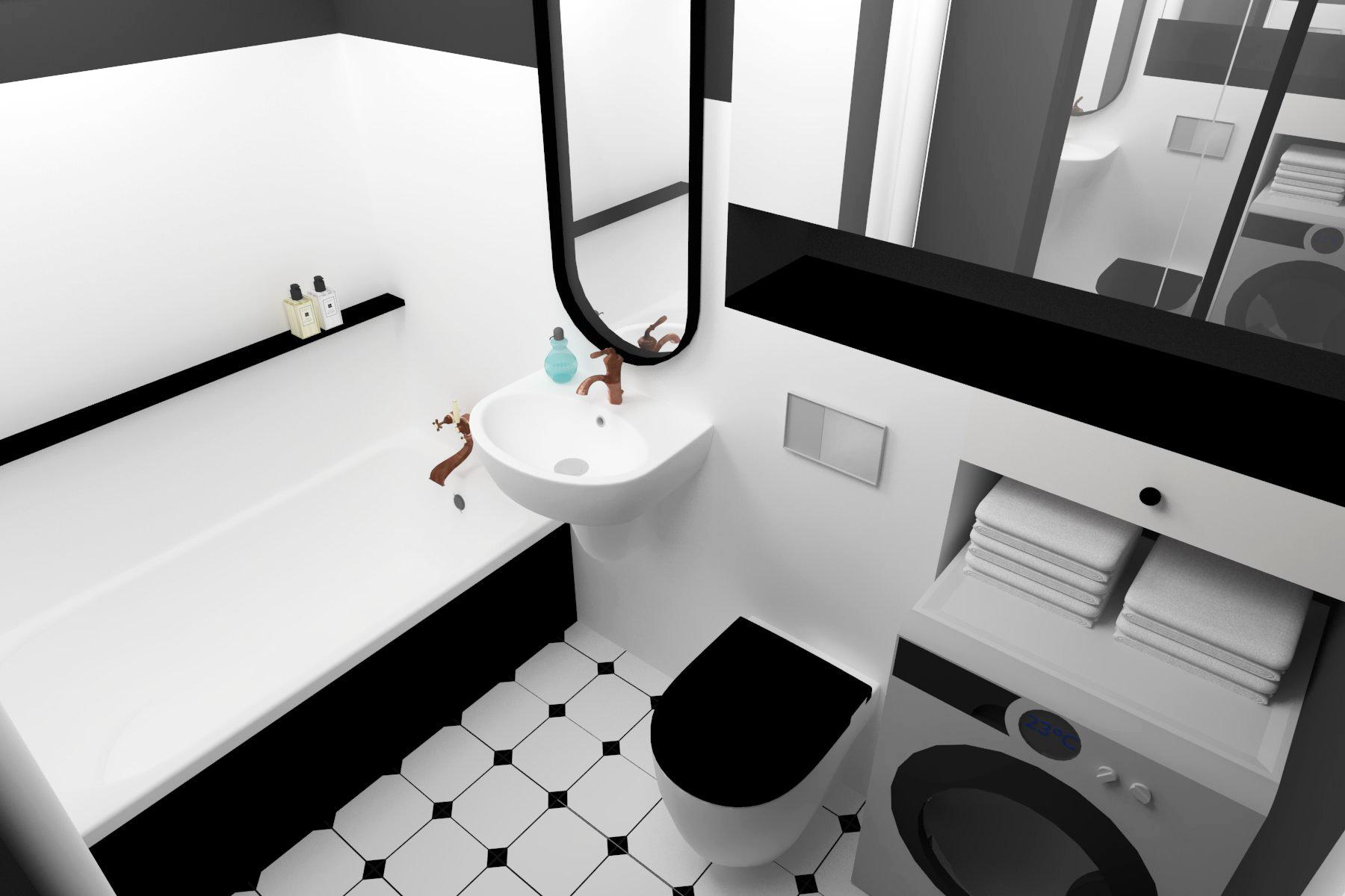 Stylowa łazienka czarno-biała sufit