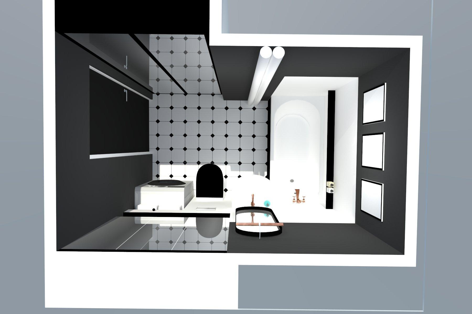Stylowa łazienka czarno-biała - rzut