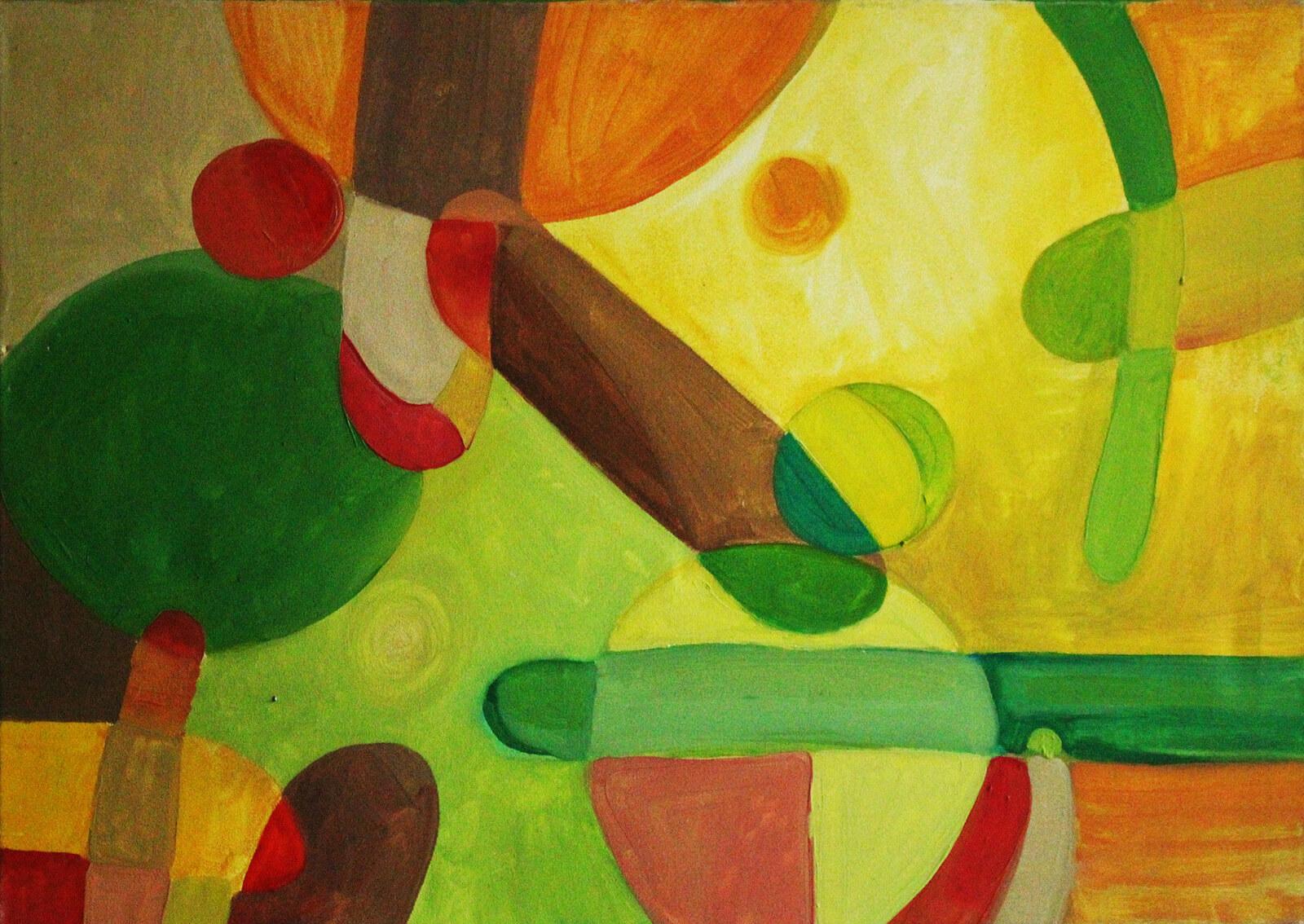 żółto-zielony obraz do salonu