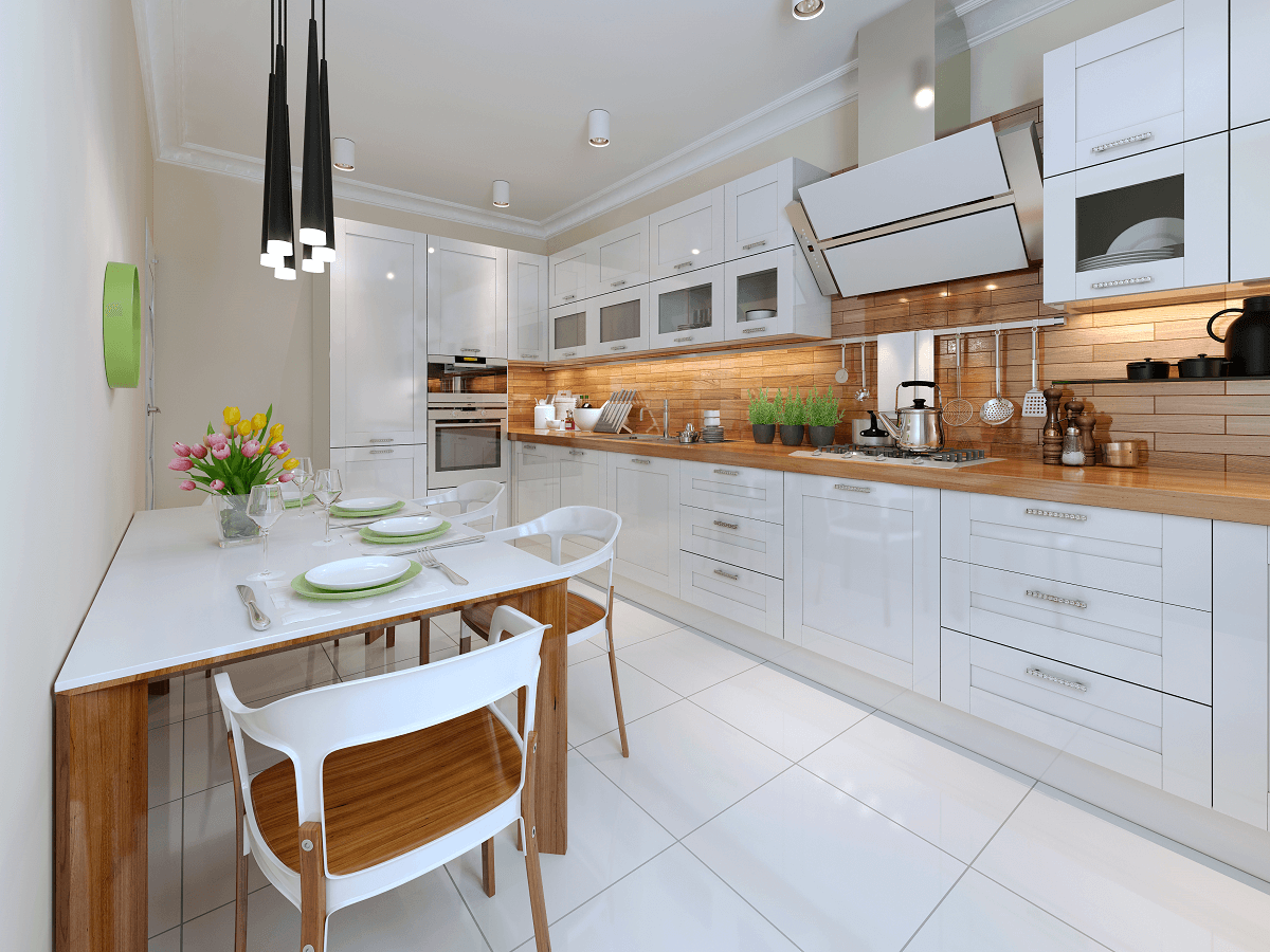 Płytki ceramiczne w kuchni zamiast podłogi drewnianej