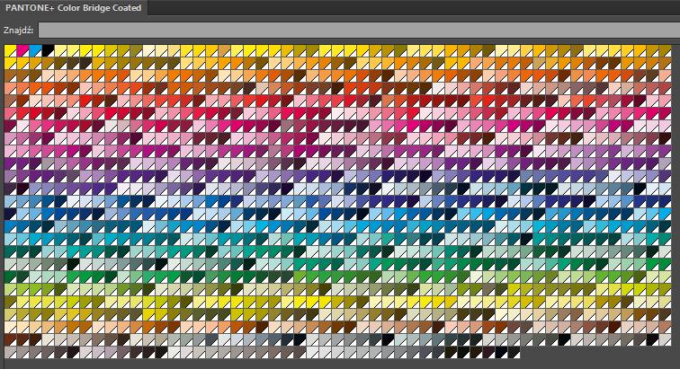wzornik PANTONE w programie Illustrator - przykładowa paleta