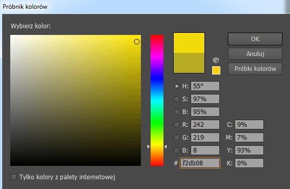 próbnik kolorów w programie graficznym