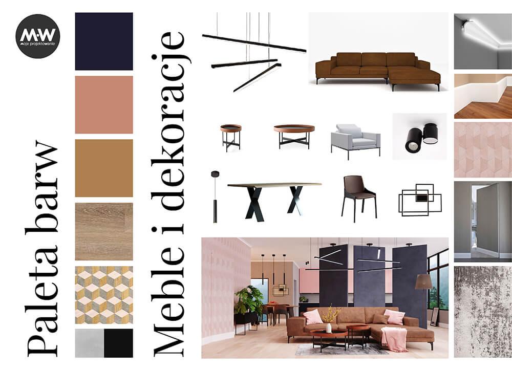 projekt wnętrza domu moodbard salon z kuchnią i jadalnią