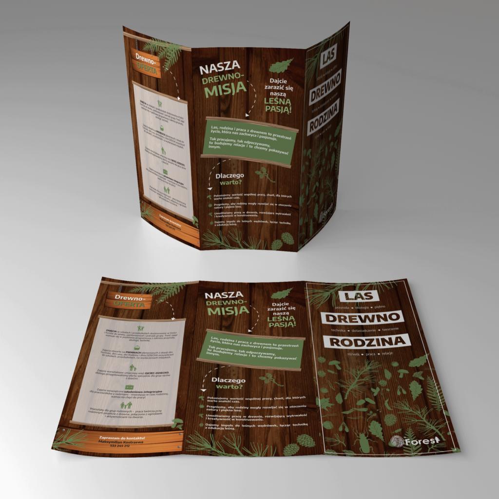 projekt dużej ulotki informacyjnej A3 do DL Moje Projektowanie byforest - widok na zewnątrz leśna okładka
