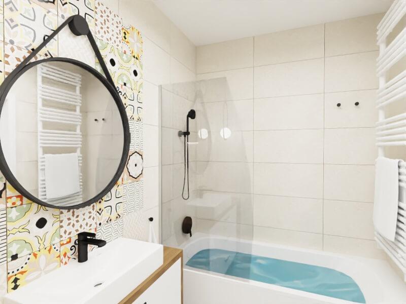 mała łazienka płytki patchwork i płytki ecru