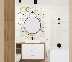 mała łazienka ściana z dekorem patchwork