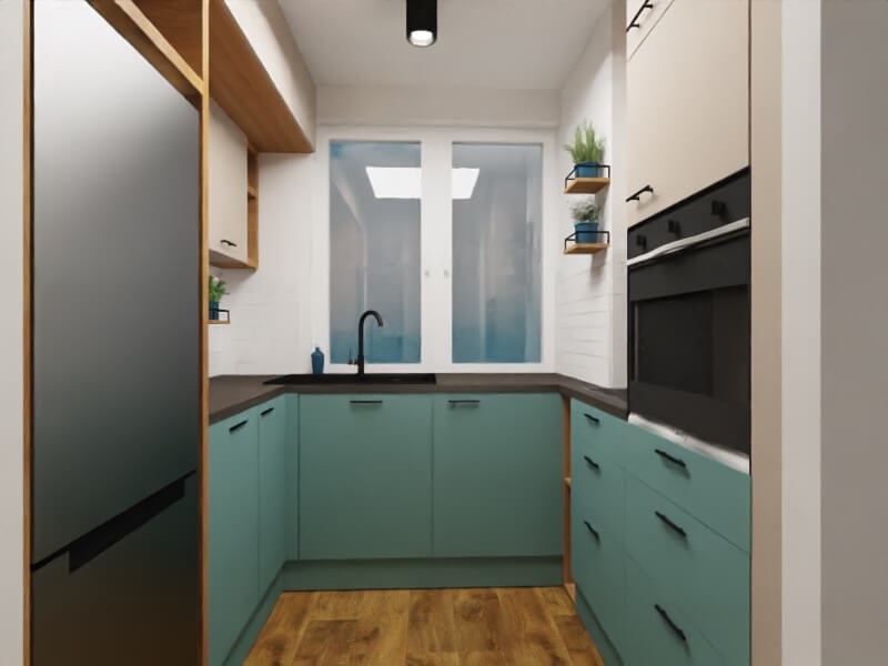 mała kuchnia projekt mieszkania warszawa