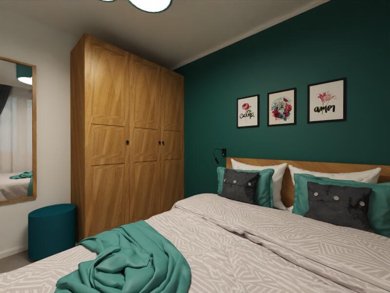turkusowa ściana: mała sypialnia