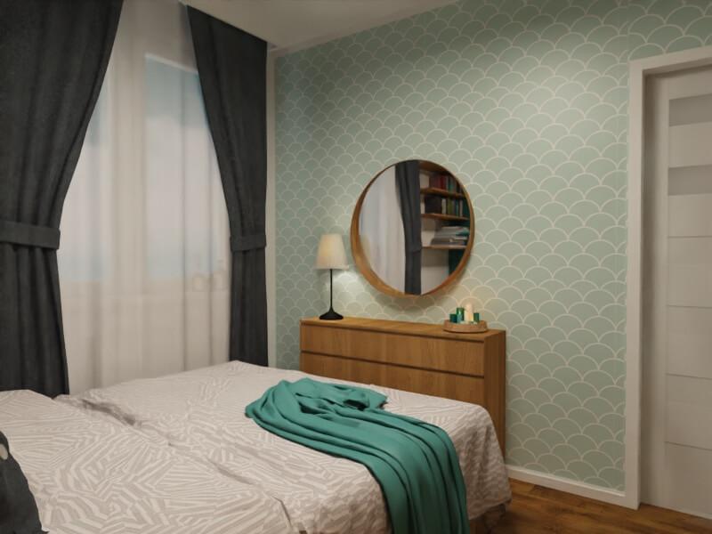 ściana z tapetą: mała sypialnia