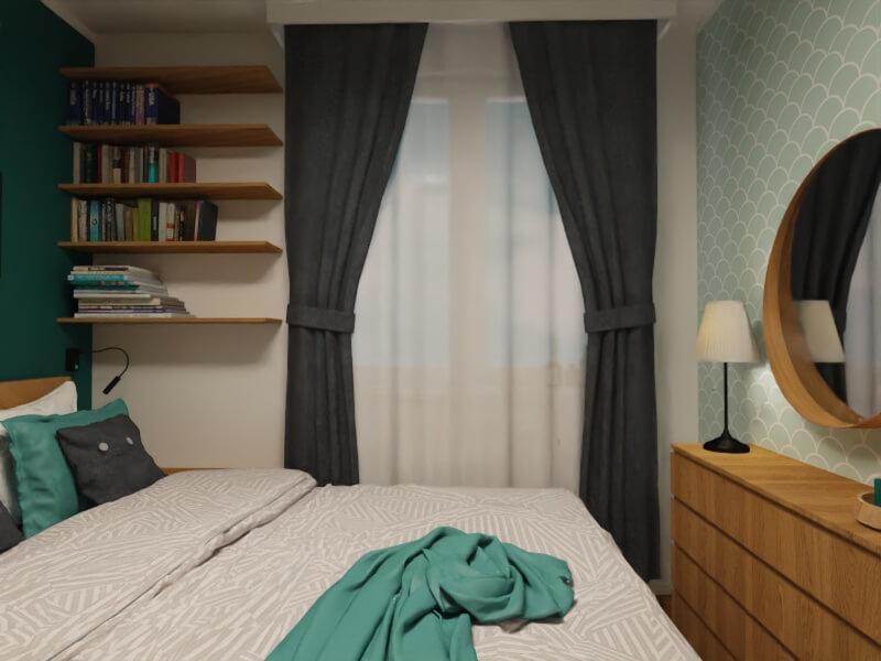 praktyczne póki zamiast szafki nocnej: mała sypialnia