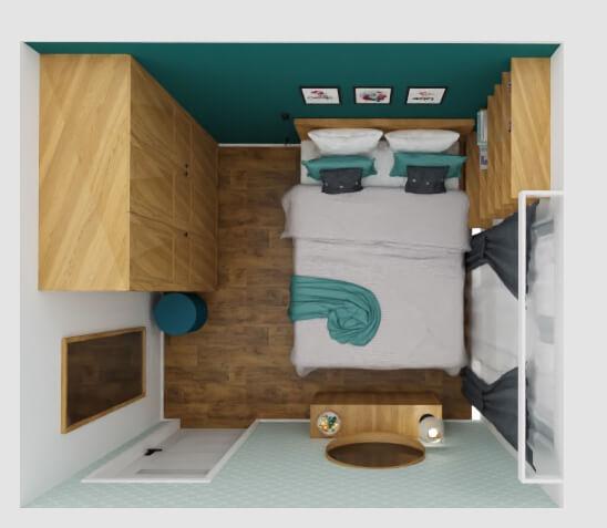 mała sypialnia: ustawienie mebli