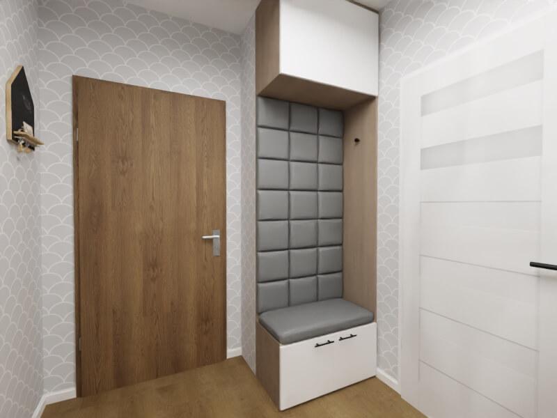 szary przedpokój - siedzisko z panelami tapicerowanymi