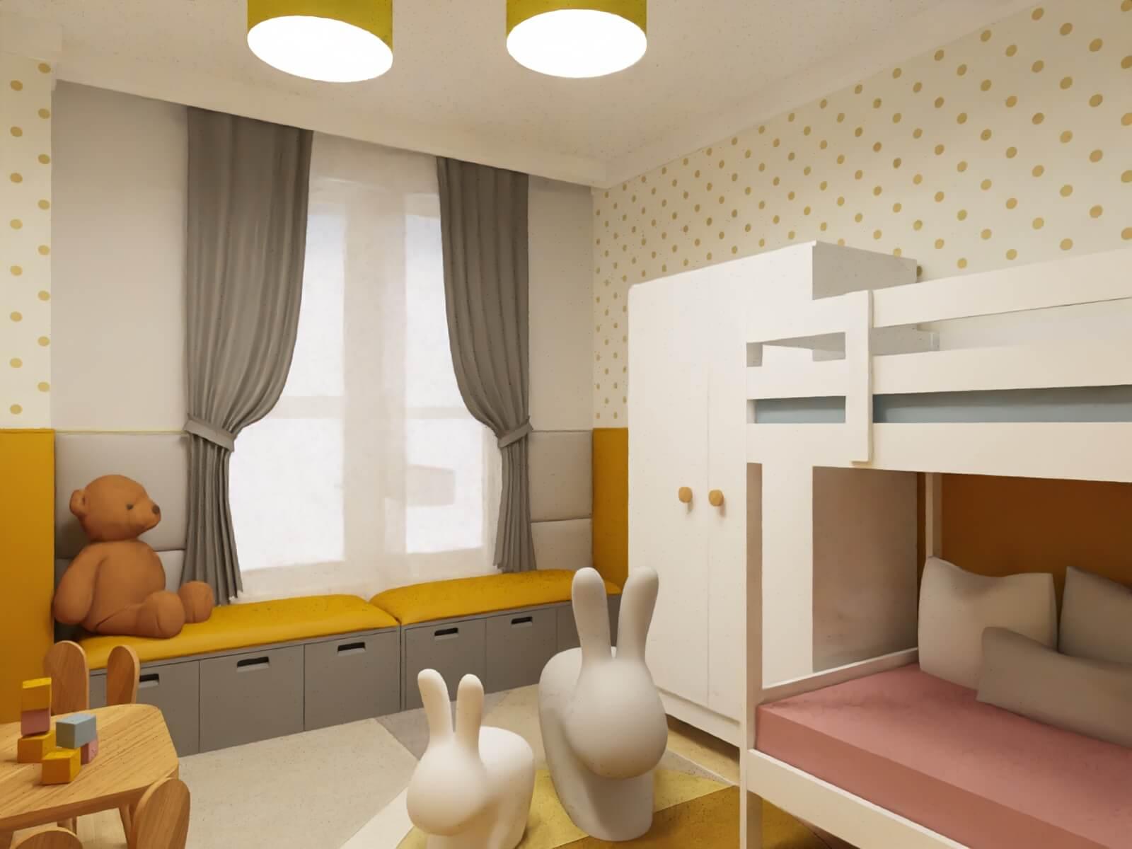 żółto szary pokój dziecięcy - tapicerowane siedzisko na zabawki