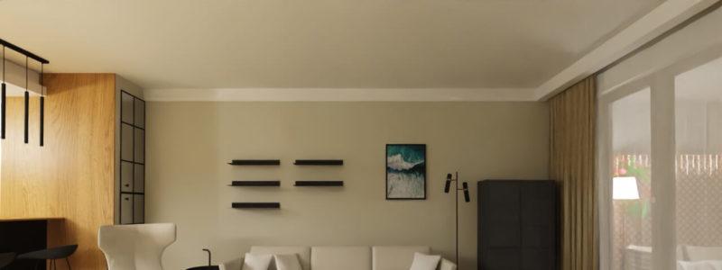 elegancki salon czarno biały
