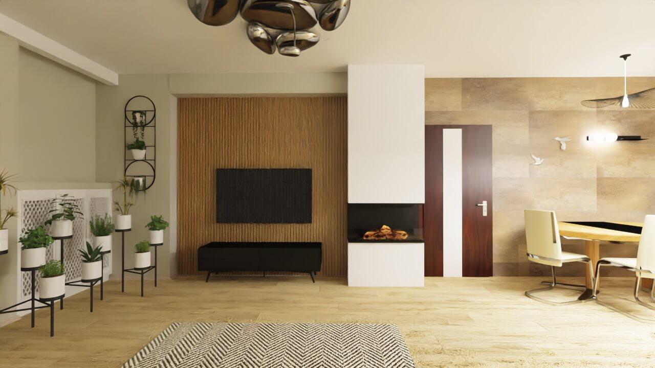 ściana za telewizorem z kominkiem elektrycznym