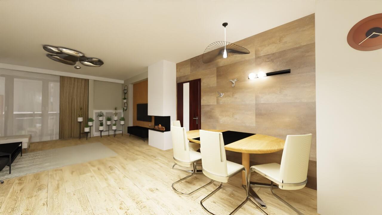 jasny salon ściana miedziana w salonie