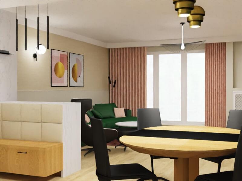 projekt mieszkania warszawa, salon z jadalnią