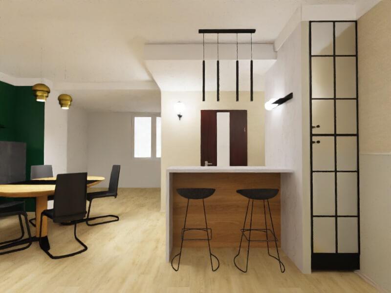 projekt mieszkania warszawa, barek między holem a salonem