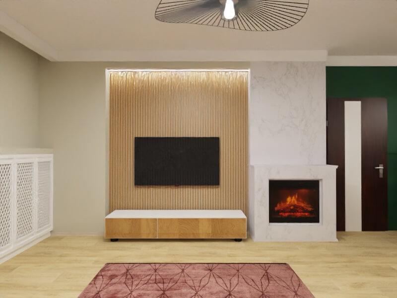 projekt mieszkania warszawa, ściana za telewizorem z drewnianymi lamelkami