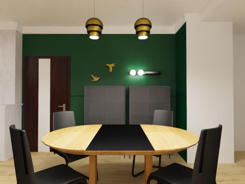 projekt mieszkania warszawa, jadalnia w kolorze butelkowej zieleni i złota