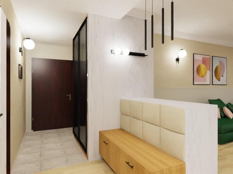 projekt mieszkania warszawa, hol połączony z salonem