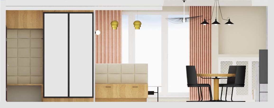 projekt mieszkania warszawa, szafa w holu z siedziskiem tapicerowanym