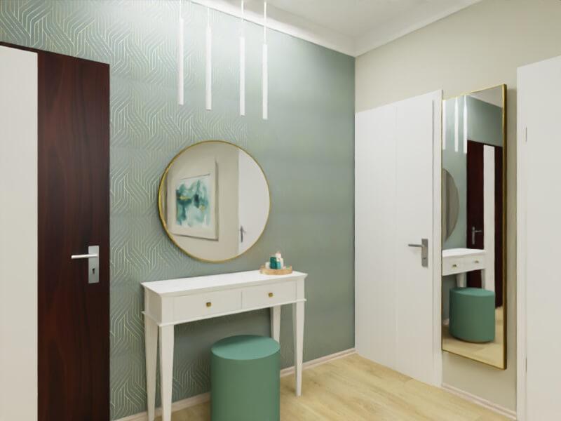 projekt kobiecej sypialni, ściana z toaletką i lustrem
