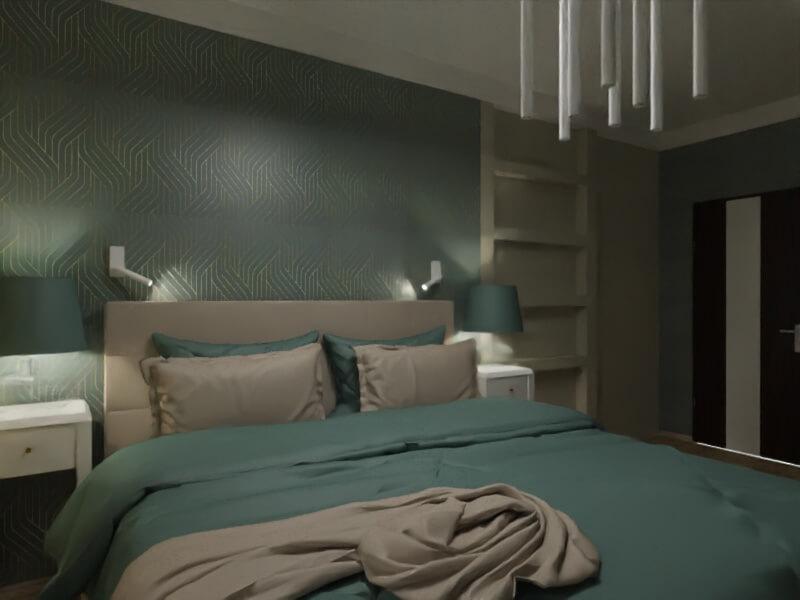 projekt sypialni, oświetlenie punktowe w sypialni