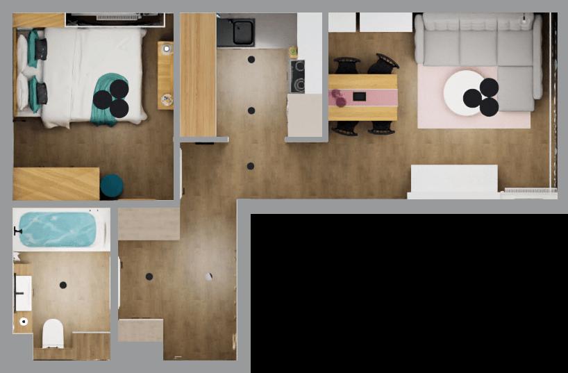 projekt mieszkania rzut 3D