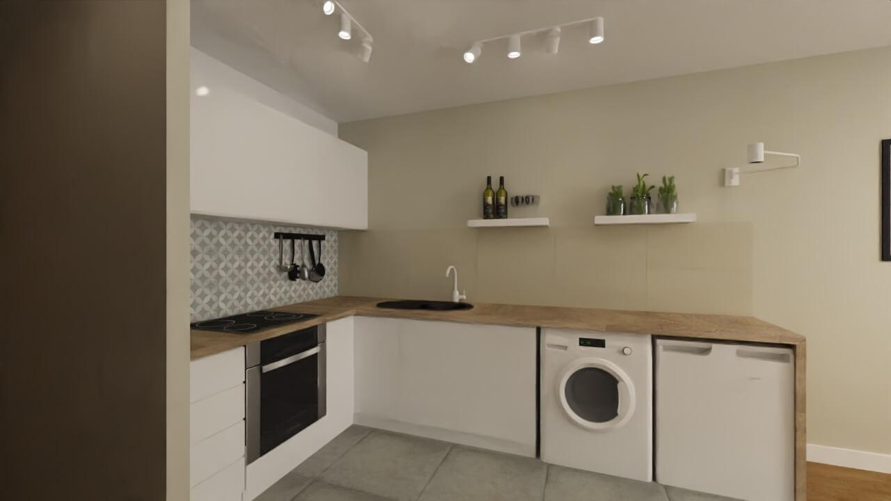 salon z aneksem kuchennym - projekt mieszkania