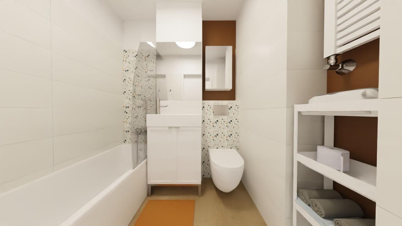 Płytki lastryko w łazience - projekt małej łazienki