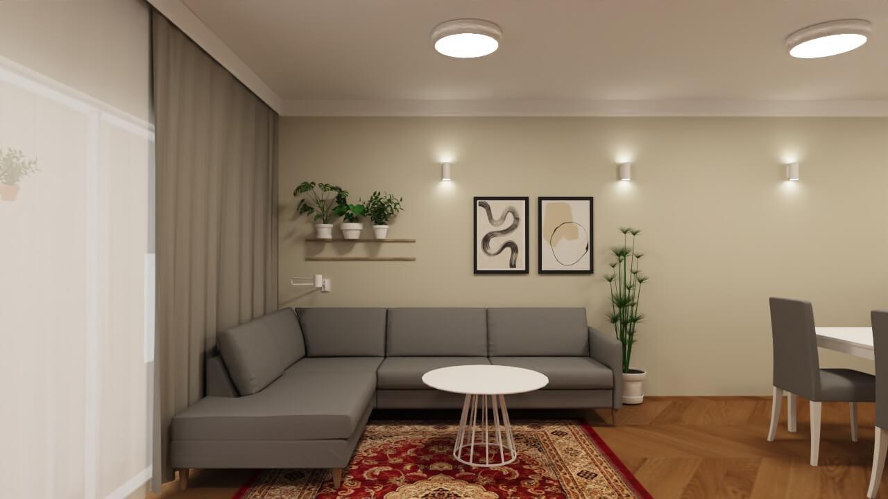 projekt salonu w domu ściana nad kanapą