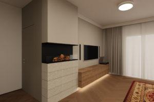projekt wnętrza domu ściana z telewizorem i biokominkiem