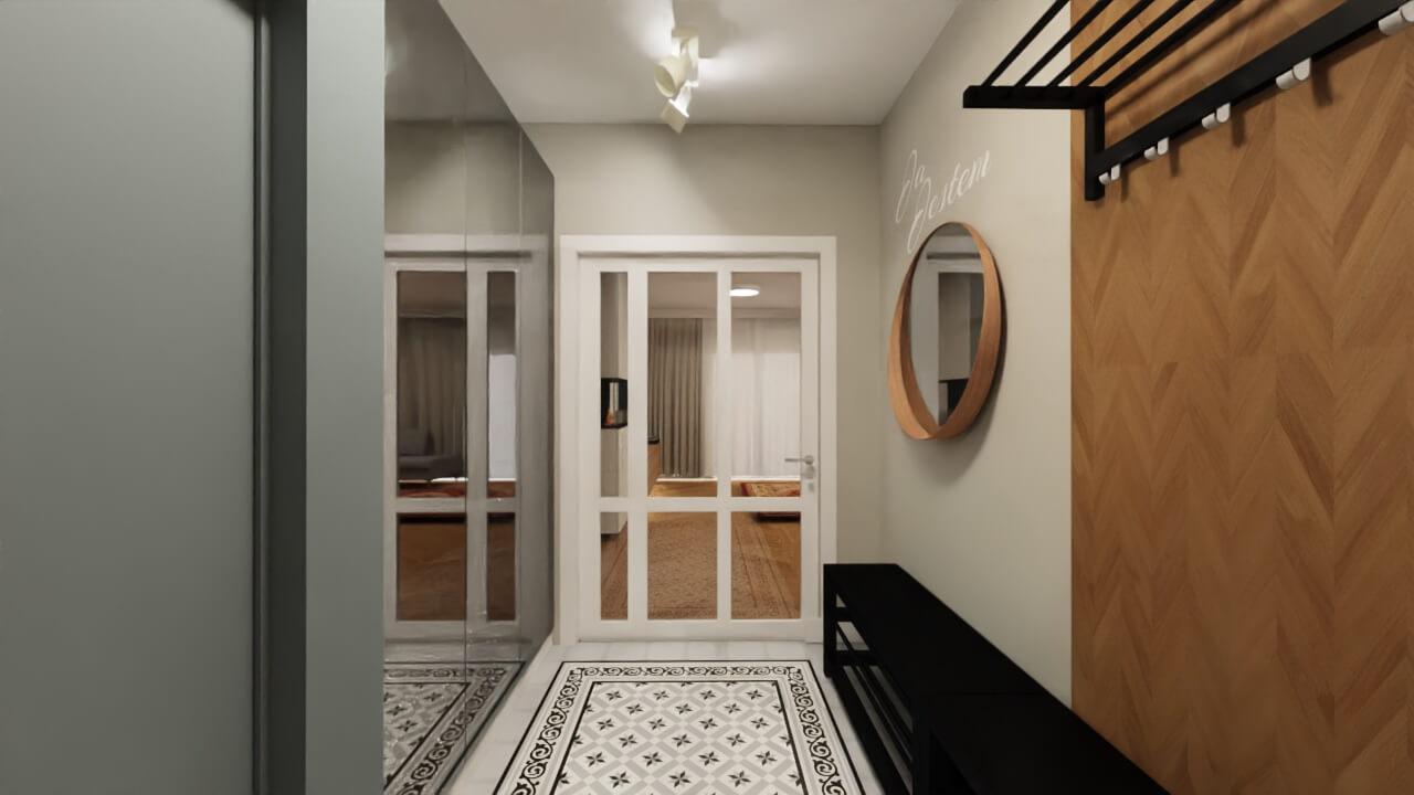 projekt wnętrza domu hol ze szklanymi drzwiami, drzwi na wymiar z doświetlem bocznym