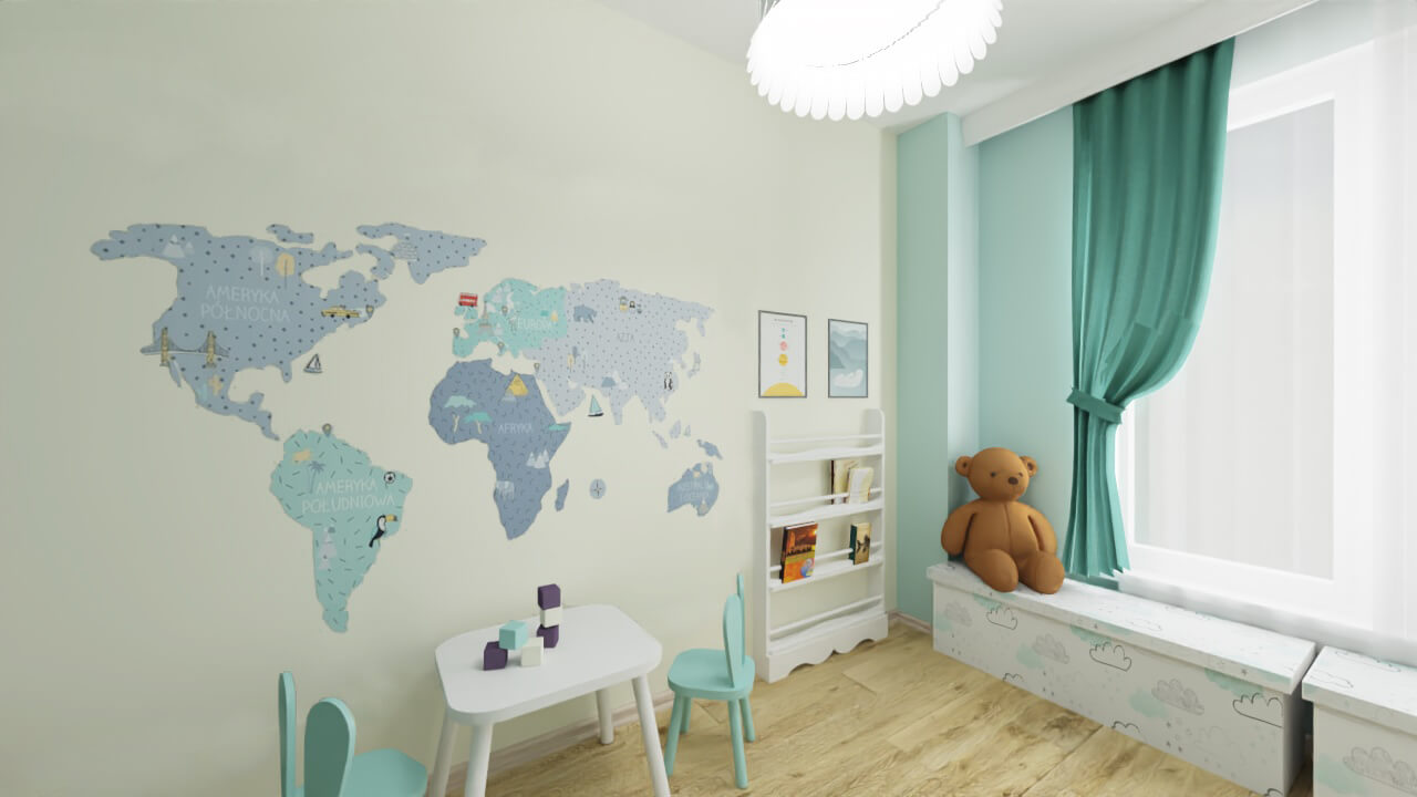 pokój dla dzieci mapa świata