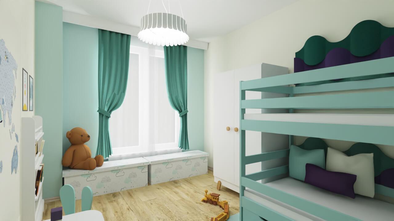 miętowy pokój dla dzieci, pokój dla chłopca i dziewczynki