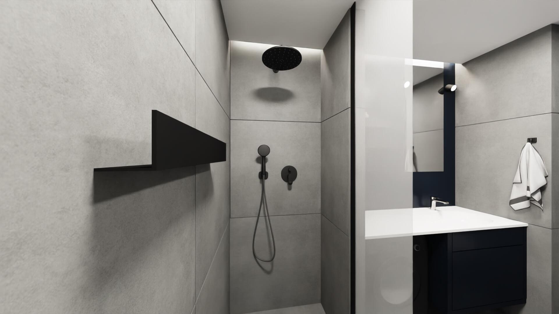 męskie mieszkanie projekt łazienki - ścianka prysznicowa pod sufit na wymiar