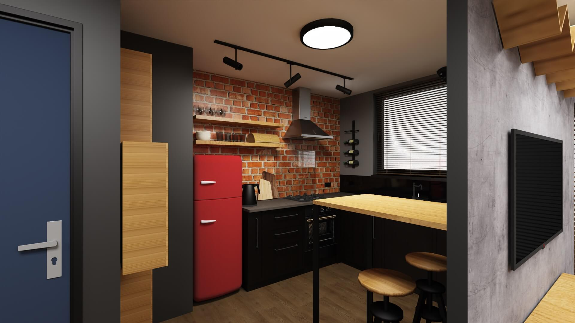 męskie mieszkanie, projekt kuchni - czerwona lodówka