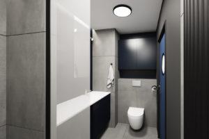 męskie mieszkanie, projekt męskiej łazienki - szare płytki, granatowe dodatki