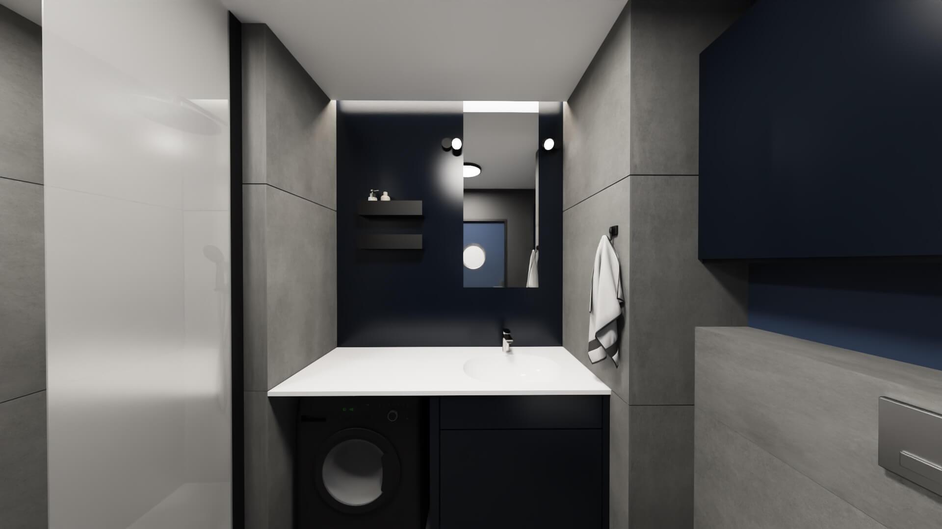 męskie mieszkanie projekt męskiej łazienki szaro granatowa łazienka - granatowa szafka łazienkowa, czarna pralka