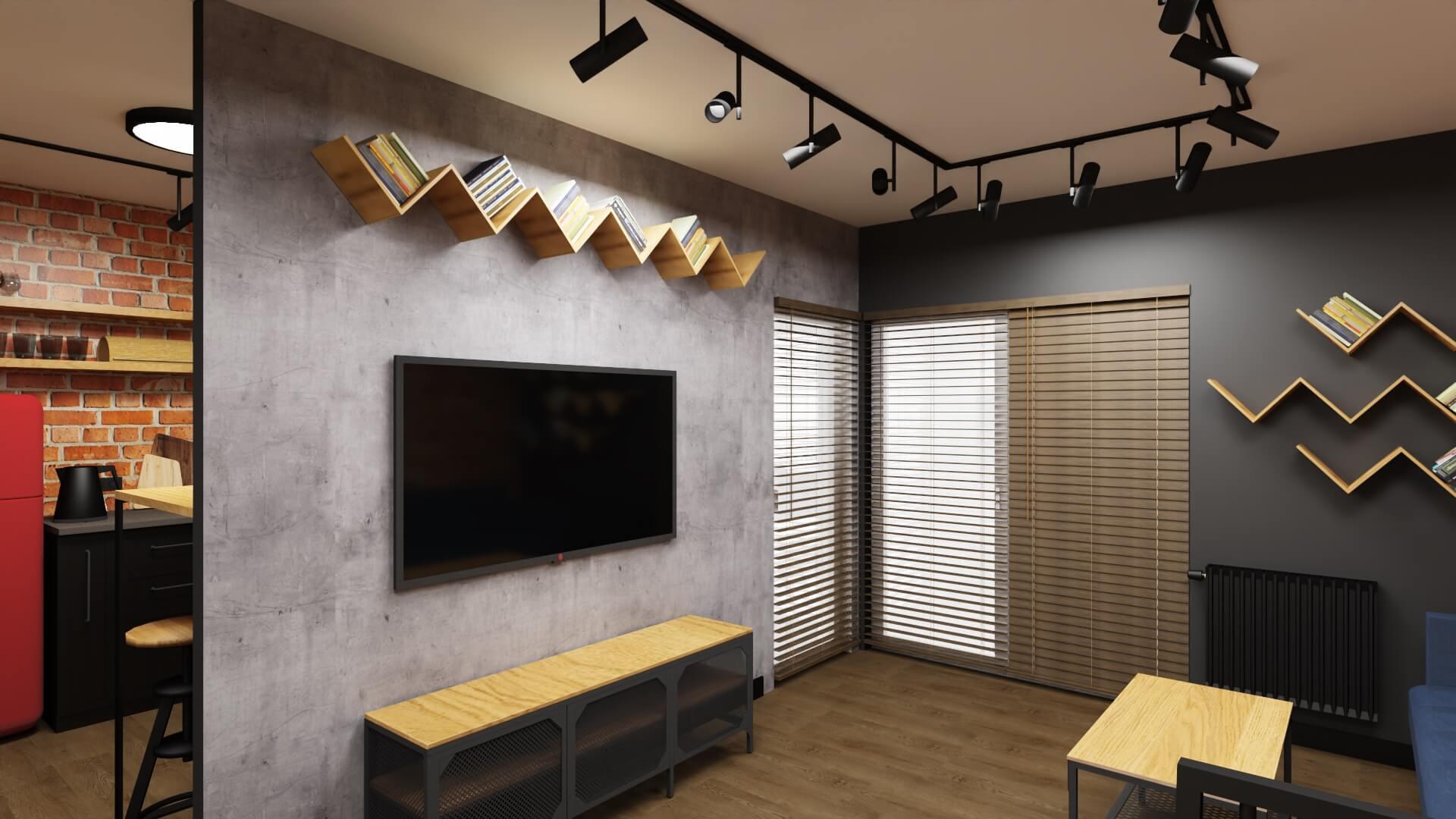 męskie mieszkanie projekt salonu - betonowa ściana z TV