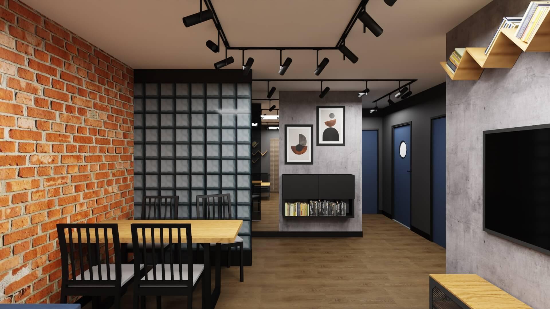 """męskie mieszkanie, projekt salonu - ściana z luksferów, cegła na ścianie, """"okrętowe"""" drzwi do łazienki"""