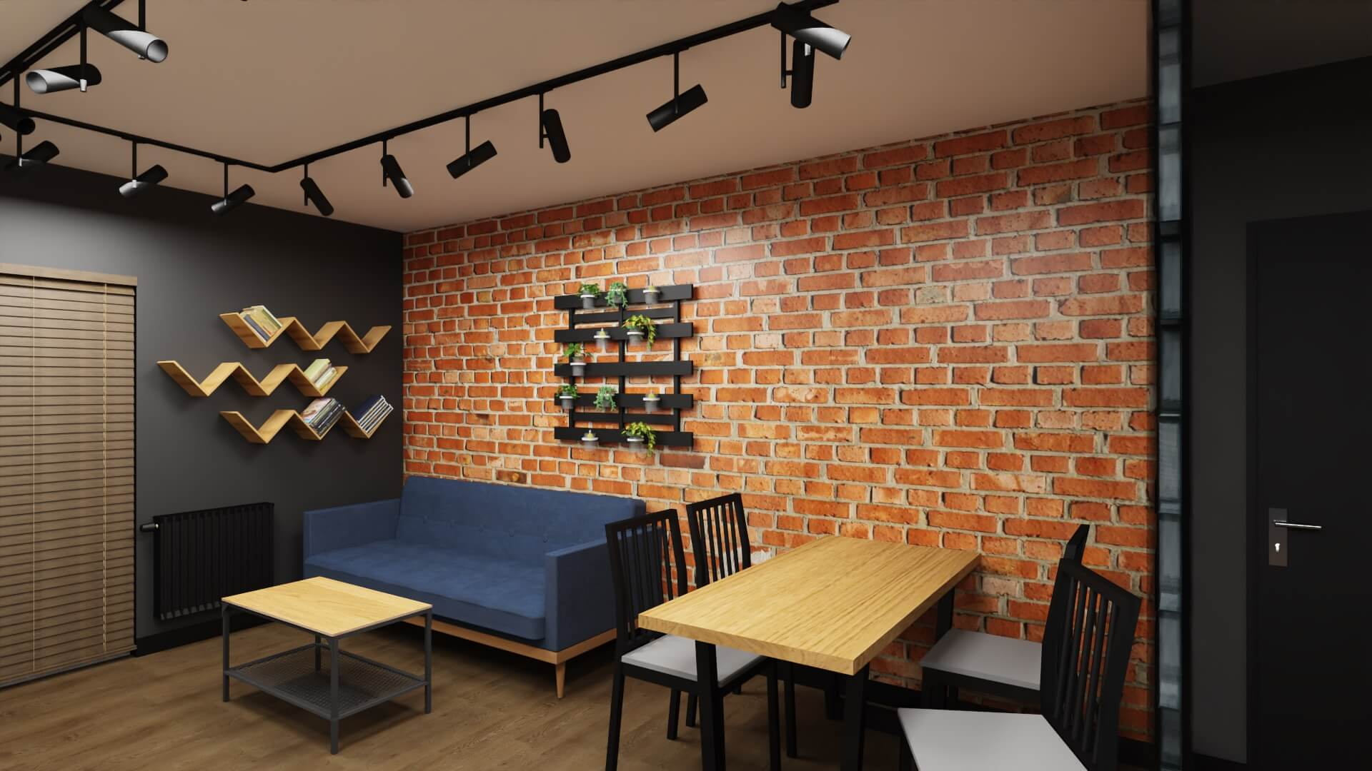 męskie mieszkanie - projekt salonu: granatowa kanapa i cegła na ścianie