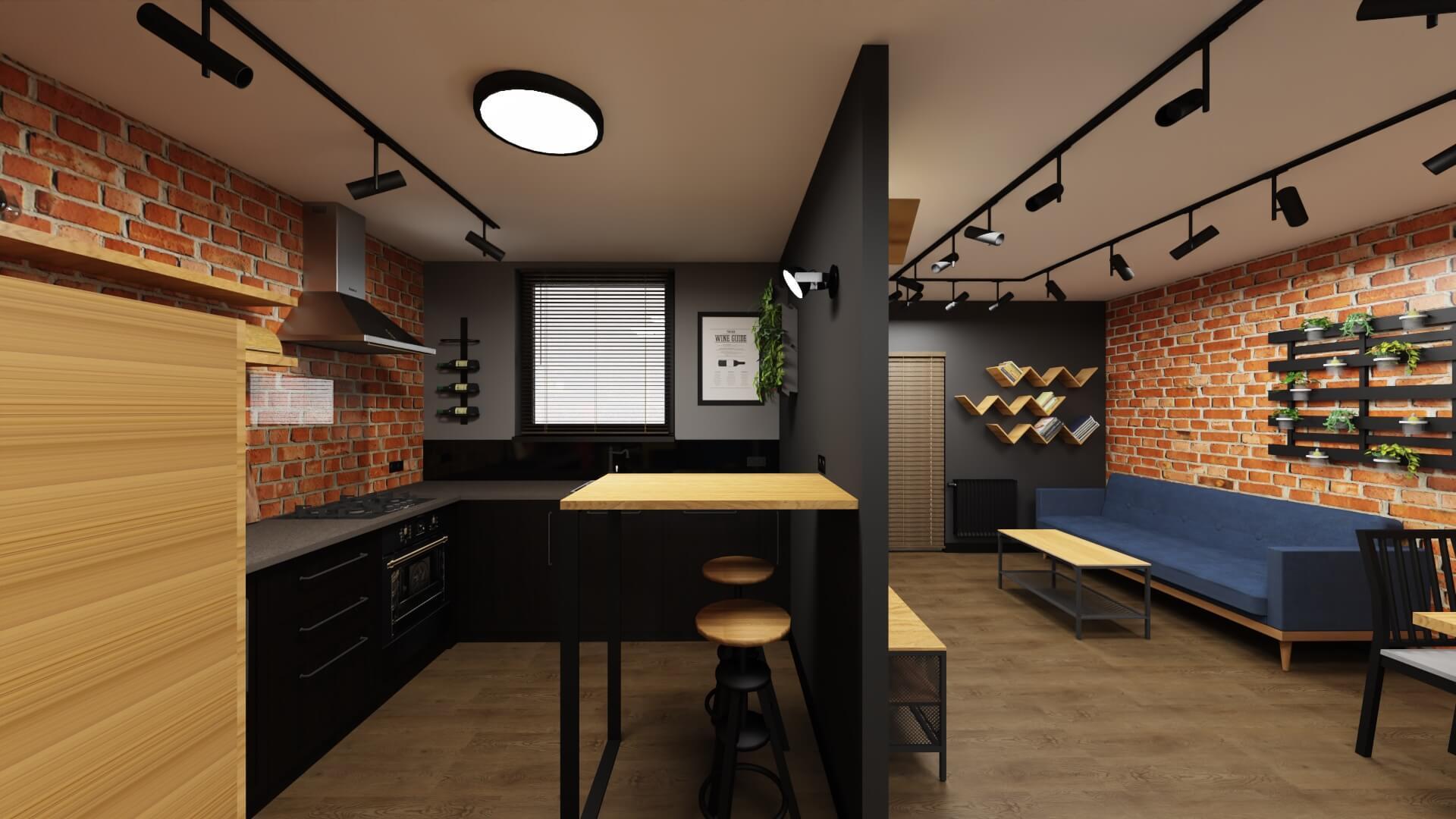 męskie mieszkanie projekt salonu z kuchnią