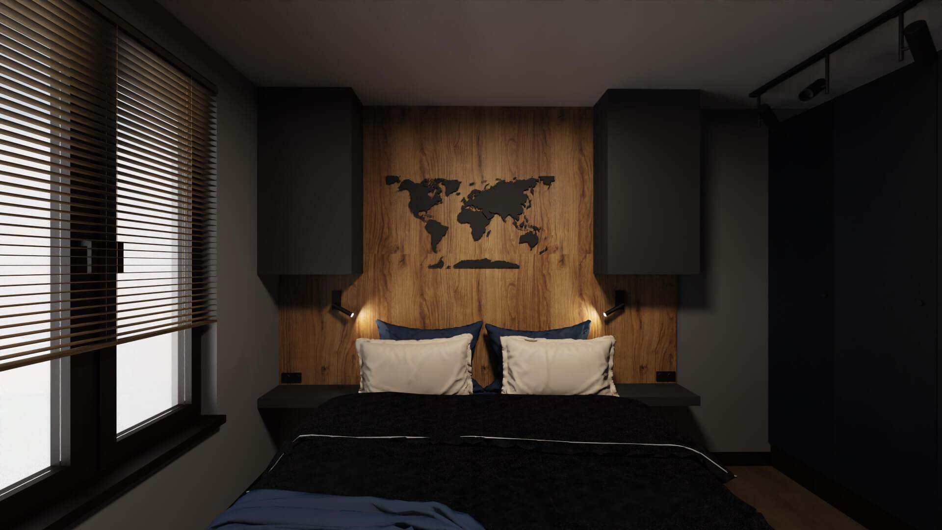 męskie mieszkanie projekt sypialni - czarna mapa świata nad łóżkiem